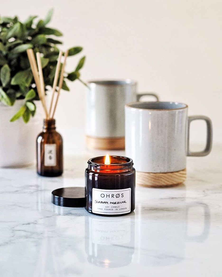 vegan soy wax OHROS candle, Sunday morning scent
