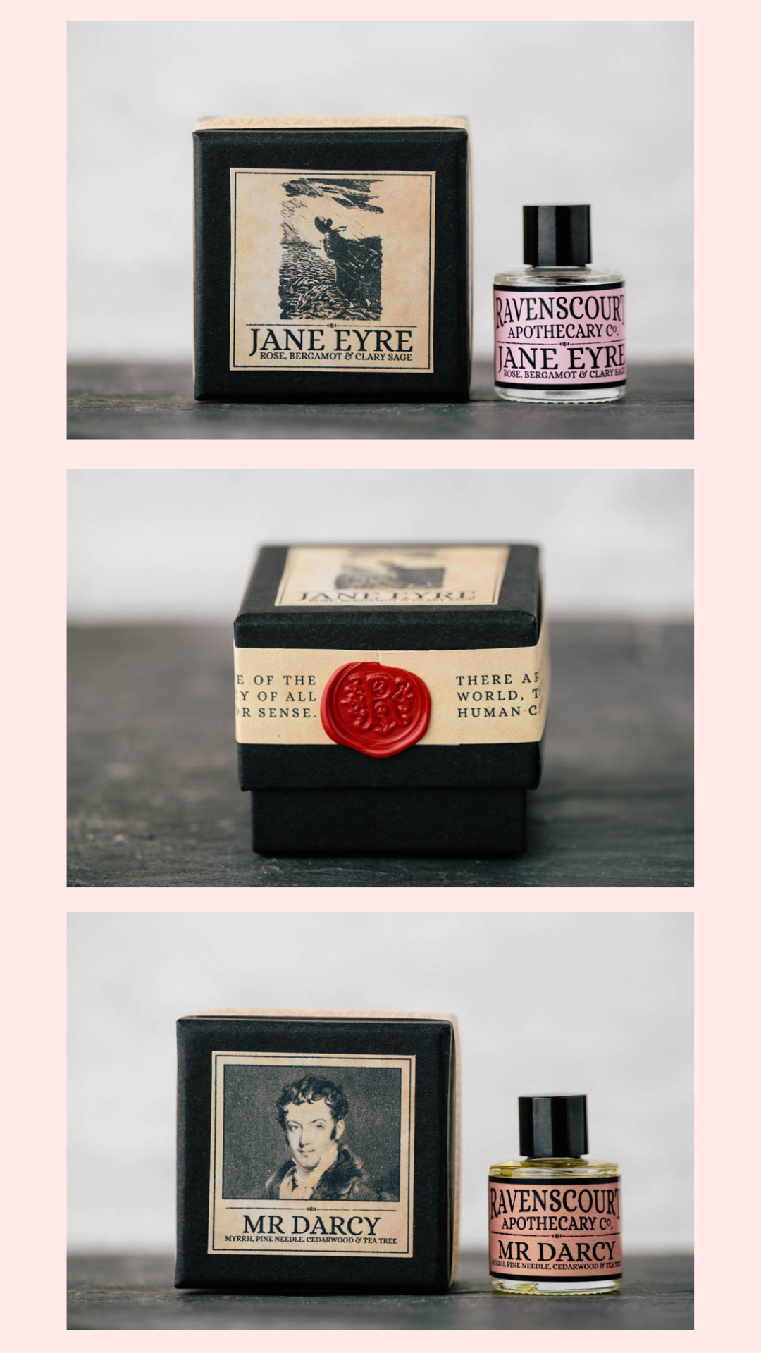 Ravenscourt Apothecary vegan perfume, Jane Eyre and Mr Darcy scents