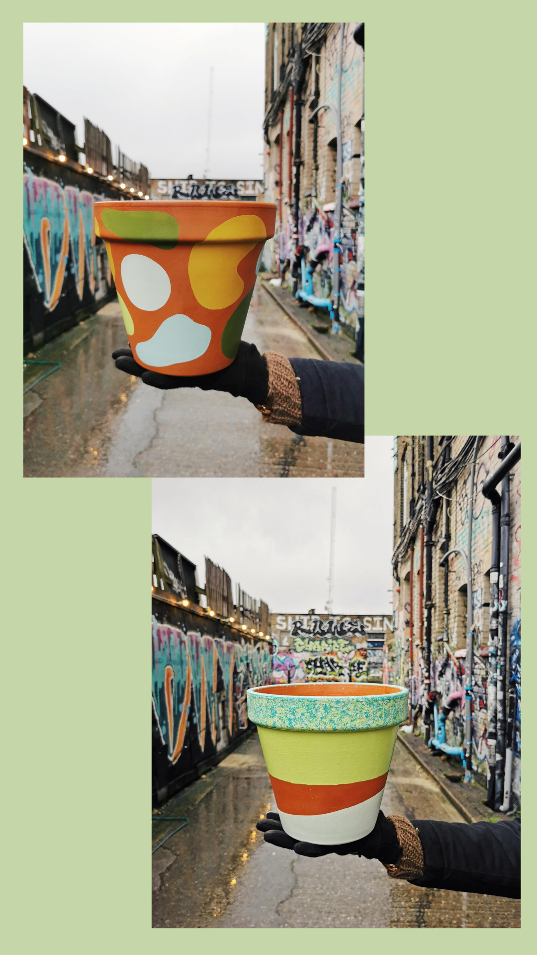 colourful hand painted plant pots
