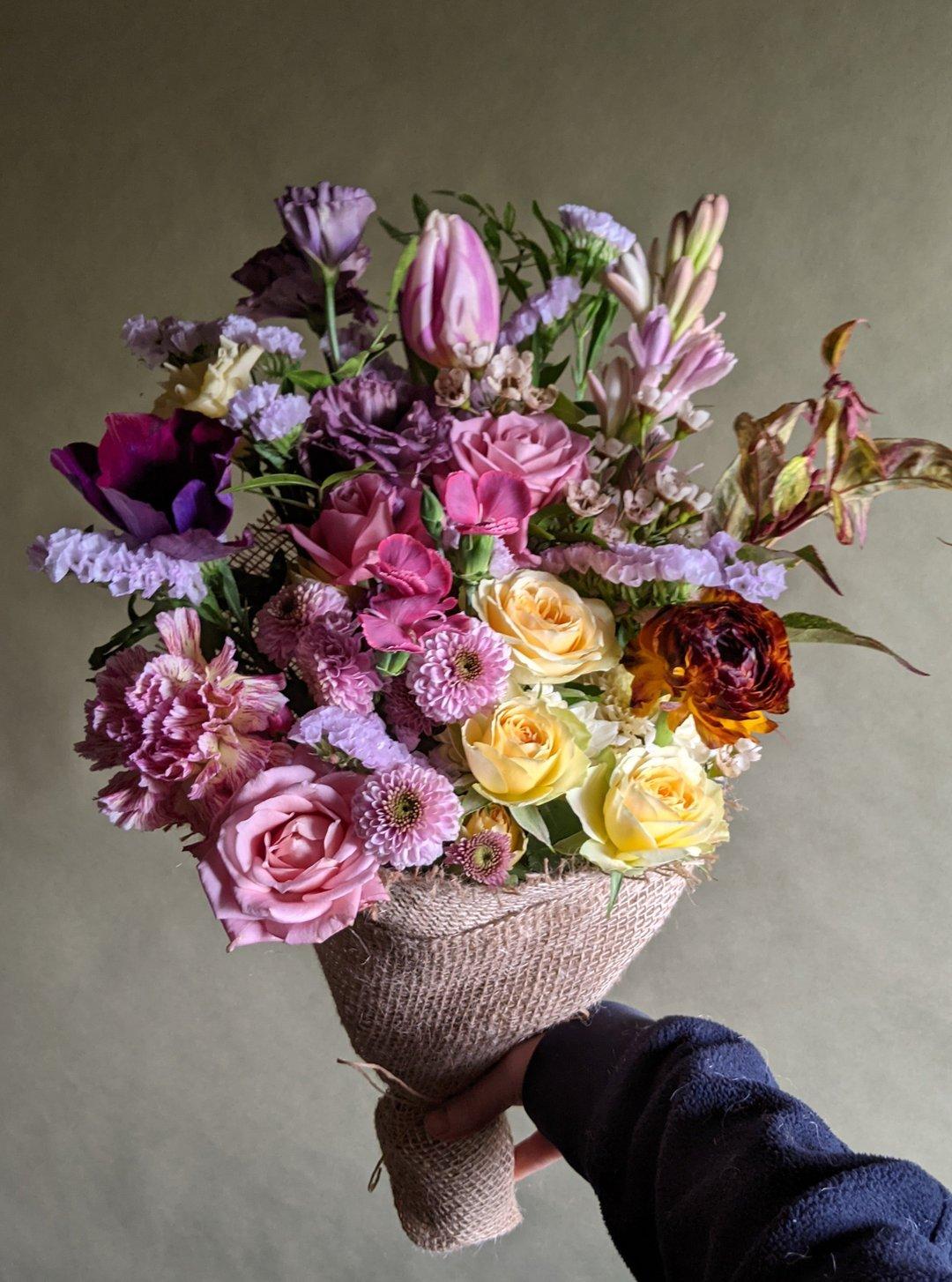 colourful sustainable seasonal flower bouquet